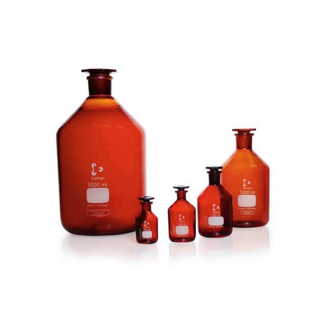 DWK Life Sciences&nbsp;DURAN&trade; Standflasche Enghals, Braun, USP <660> and USP <671> (Spectrale Transmission) konform ST 29/32, 20000 mL DWK Life Sciences&nbsp;DURAN&trade; Standflasche Enghals, Braun, USP <660> and USP <671> (Spectrale Transmission) konform