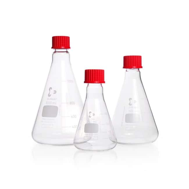 DWK Life Sciences DURAN™ Erlenmeyer Flask, with DIN thread With PBT cap, 100 mL DWK Life Sciences DURAN™ Erlenmeyer Flask, with DIN thread