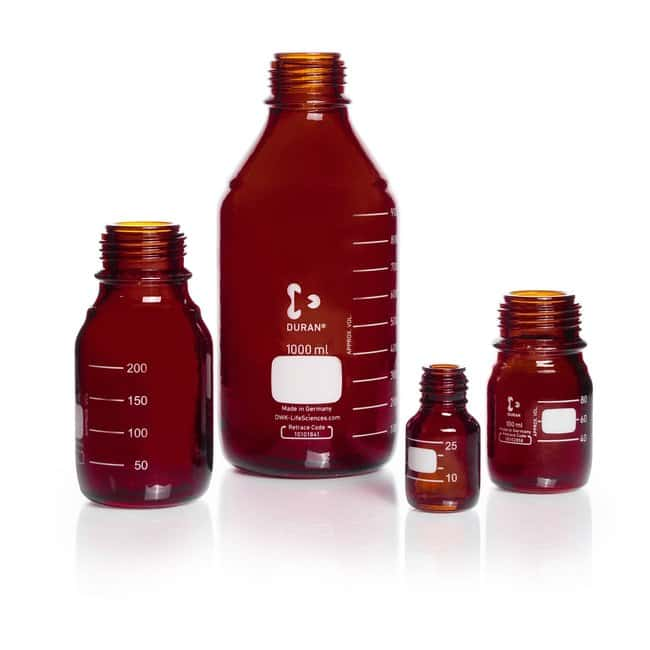 DWK Life SciencesDURAN™ Laboratory Bottle, Protect coated, Amber, with DIN 168-1 Thread, Plastic safety coated, USP / EP (3.2.1) Light Transmission GL 45, 5000 mL DWK Life SciencesDURAN™ Laboratory Bottle, Protect coated, Amber, with DIN 168-1 Thread, Plastic safety coated, USP / EP (3.2.1) Light Transmission