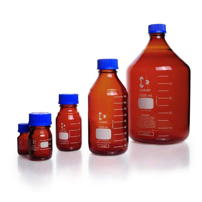 DWK Life Sciences DURAN™ Original Laboratory Bottle, Amber, with DIN 168-1 Thread, USP / EP (3.2.1) Light Transmission, Graduated 10 mL DWK Life Sciences DURAN™ Original Laboratory Bottle, Amber, with DIN 168-1 Thread, USP / EP (3.2.1) Light Transmission, Graduated
