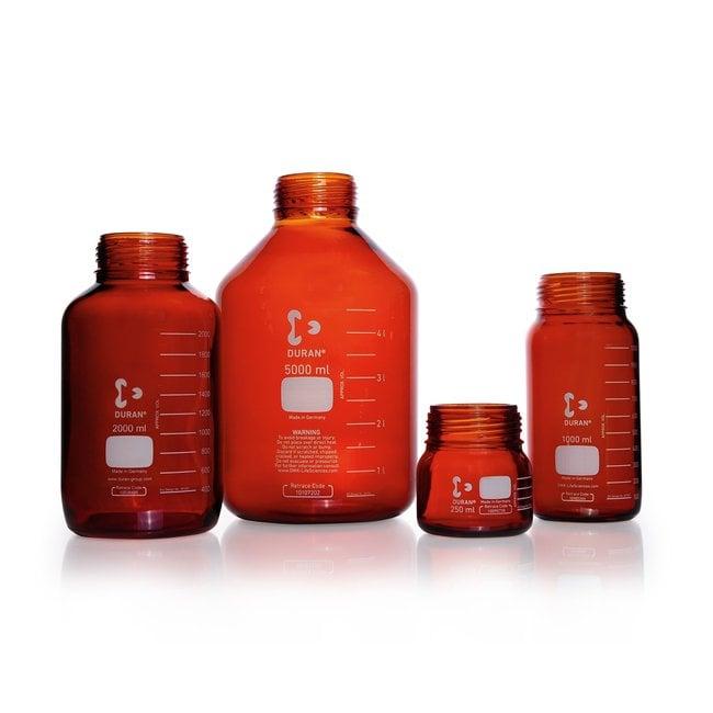 DWK Life SciencesDURAN™ GLS 80™ Laboratory Bottle Only, Wide Mouth, Amber, GLS 80™ Thread, USP /EP (3.2.1) Light Transmission, Graduated 2000 mL DWK Life SciencesDURAN™ GLS 80™ Laboratory Bottle Only, Wide Mouth, Amber, GLS 80™ Thread, USP /EP (3.2.1) Light Transmission, Graduated