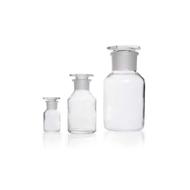 DWK Life Sciences Reagent Bottle, Wide Neck, Soda-Lime Glass, Clear, Standard Taper Ground Joint Neck 500 mL DWK Life Sciences Reagent Bottle, Wide Neck, Soda-Lime Glass, Clear, Standard Taper Ground Joint Neck