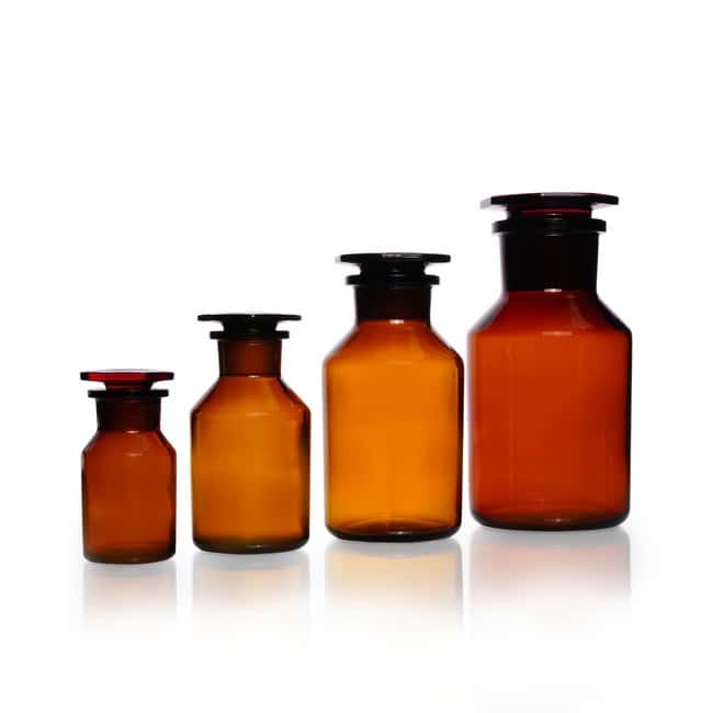 DWK Life Sciences Reagent Bottle, Wide Neck, Soda-Lime Glass, Amber, Standard Taper Ground Joint Neck 100 mL DWK Life Sciences Reagent Bottle, Wide Neck, Soda-Lime Glass, Amber, Standard Taper Ground Joint Neck