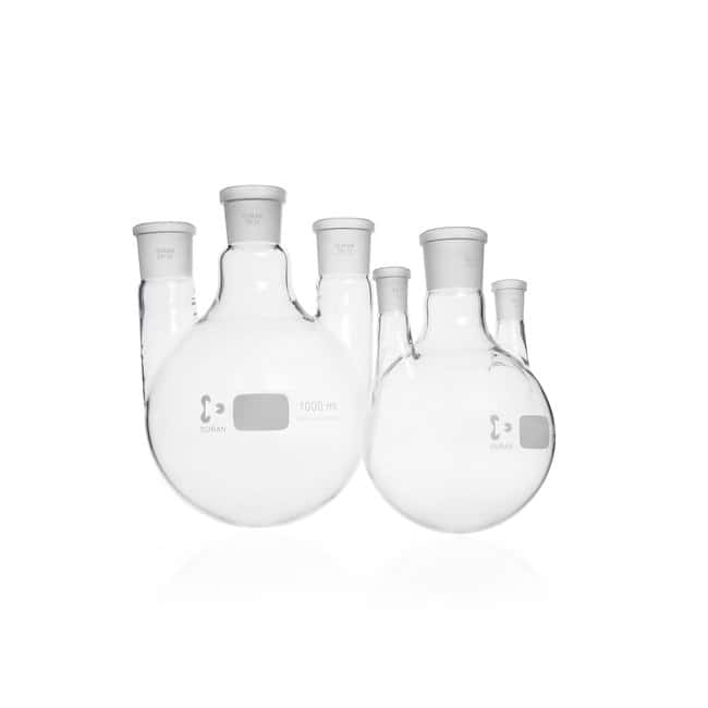 DWK Life SciencesDURAN™ Triple-Neck Round Bottom Flask, with standard ground joint, parallel side necks Parallel side necks NS 14/23, 250 mL DWK Life SciencesDURAN™ Triple-Neck Round Bottom Flask, with standard ground joint, parallel side necks