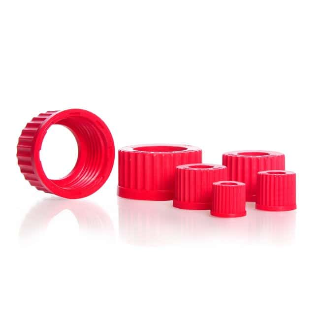 DWK Life Sciences DURAN™ Open Topped Screw Cap, Central Aperture, Red PBT GL 25 Products