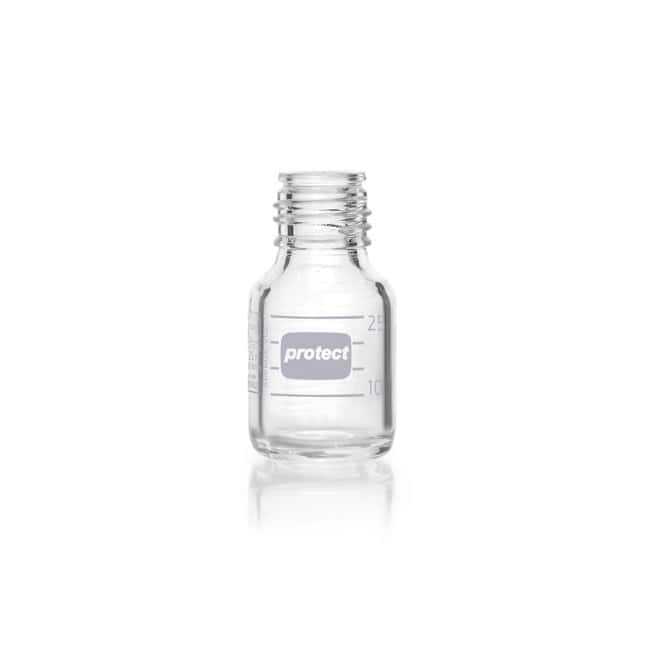 DWK Life SciencesDURAN™ Protect Laboratory Bottle, Protect coated, Clear, With DIN Thread, Plastic Safetry Coated, Graduated, Bottle Only 25 mL DWK Life SciencesDURAN™ Protect Laboratory Bottle, Protect coated, Clear, With DIN Thread, Plastic Safetry Coated, Graduated, Bottle Only