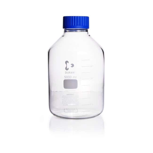 DWK Life SciencesDURAN™ GLS 80™ Laboratory Bottle, Wide Mouth, Clear, GLS 80™ Thread, Graduated, with Screw Cap and Pouring Ring 5000 mL DWK Life SciencesDURAN™ GLS 80™ Laboratory Bottle, Wide Mouth, Clear, GLS 80™ Thread, Graduated, with Screw Cap and Pouring Ring