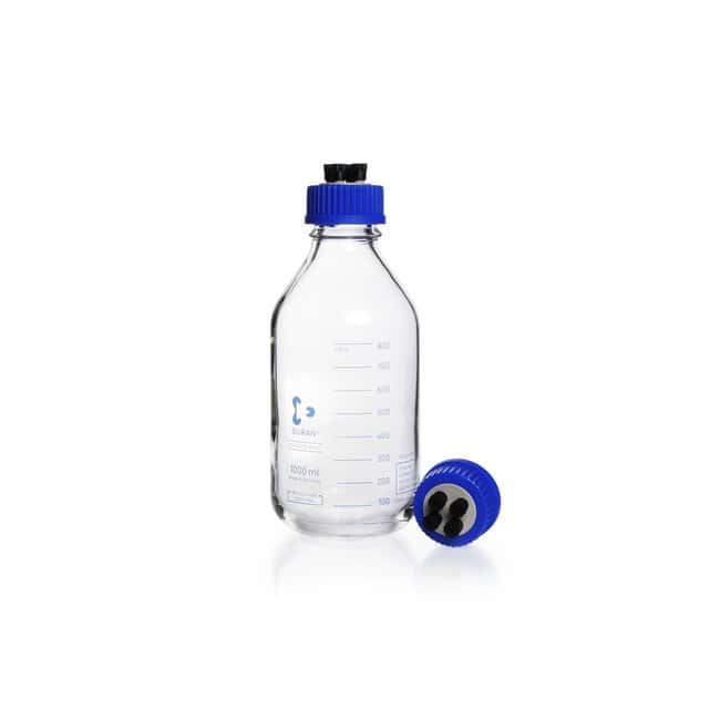 DWK Life Sciences DURAN™ GLS 80™ HPLC Bottle, 4 Tubing Connectors, Clear, with DIN 168-1 Thread, GL 45, Graduated, 4 Tubing Connectors: Bottles Bottles, Jars and Jugs