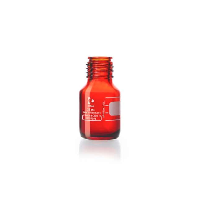 DWK Life Sciences DURAN™ Original Laboratory Bottle, Amber, with DIN 168-1 Thread, USP / EP (3.2.1) Light Transmission, Graduated, Bottle Only 25 mL DWK Life Sciences DURAN™ Original Laboratory Bottle, Amber, with DIN 168-1 Thread, USP / EP (3.2.1) Light Transmission, Graduated, Bottle Only