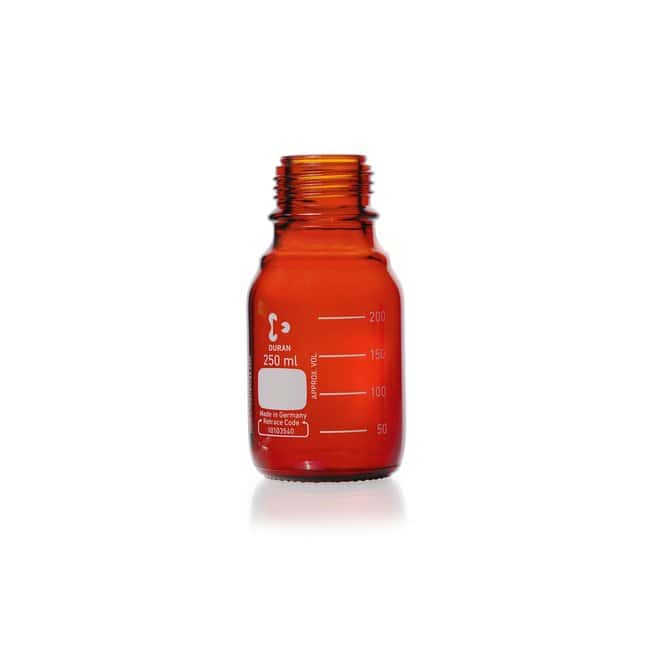 DWK Life Sciences DURAN™ Original Laboratory Bottle, Amber, with DIN 168-1 Thread, USP / EP (3.2.1) Light Transmission, Graduated, Bottle Only 250 mL DWK Life Sciences DURAN™ Original Laboratory Bottle, Amber, with DIN 168-1 Thread, USP / EP (3.2.1) Light Transmission, Graduated, Bottle Only