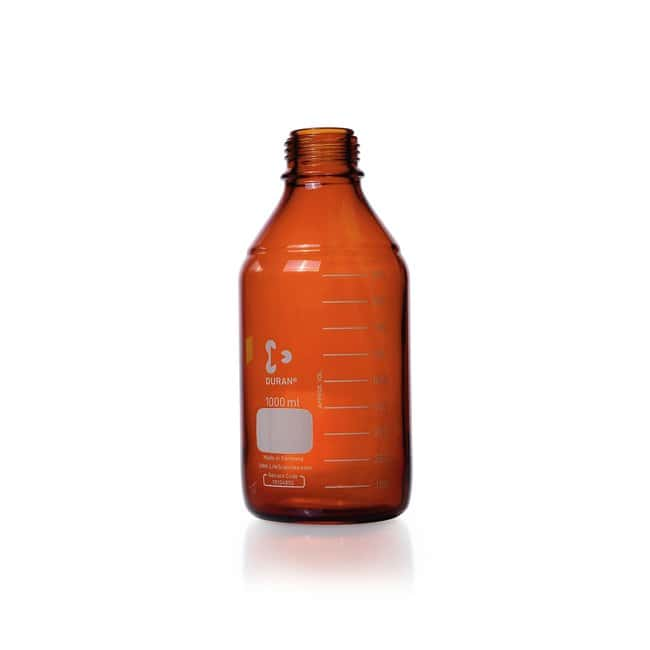 DWK Life Sciences DURAN™ Original Laboratory Bottle, Amber, with DIN 168-1 Thread, USP / EP (3.2.1) Light Transmission, Graduated, Bottle Only 1000 mL DWK Life Sciences DURAN™ Original Laboratory Bottle, Amber, with DIN 168-1 Thread, USP / EP (3.2.1) Light Transmission, Graduated, Bottle Only