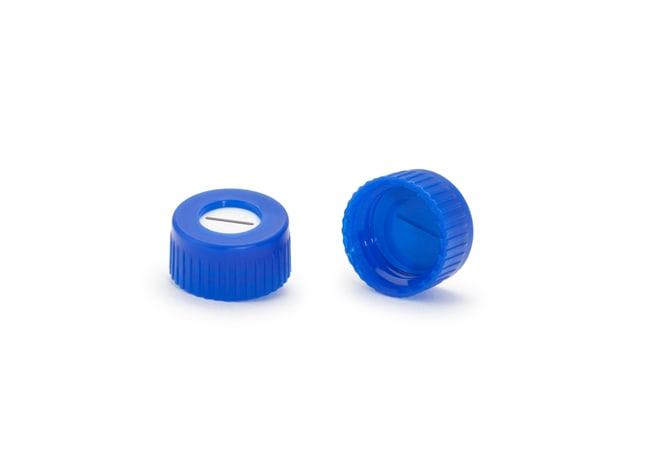 DWK Life SciencesCapuchon à visser ND9; Avec opercule; Bleu; Silicone blanc, PTFE bleu, pré-fendu (simple) DWK Life SciencesCapuchon à visser