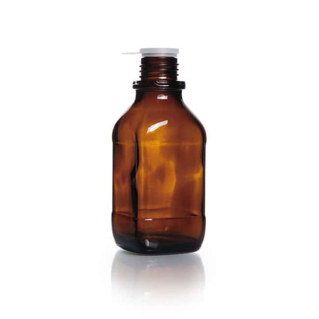 DWK Life SciencesScrew-Top Bottle, Square, Amber, Soda-Lime Glass, Narrow Mouth, High form DIN thread DIN 32 H thread 250 mL DWK Life SciencesScrew-Top Bottle, Square, Amber, Soda-Lime Glass, Narrow Mouth, High form DIN thread