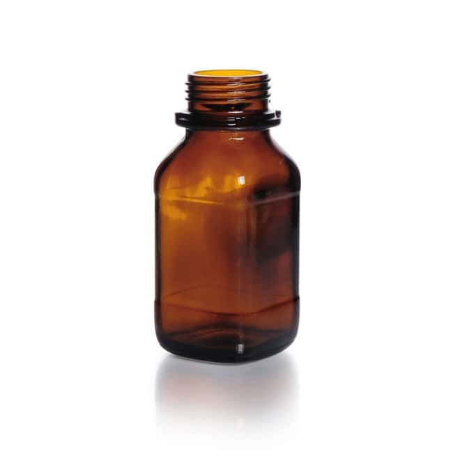 DWK Life SciencesScrew-Top Bottle, Square, Amber, Soda-Lime Glass, Wide mouth, Short form DIN thread Wide Mouth DIN 45 S thread 250 mL DWK Life SciencesScrew-Top Bottle, Square, Amber, Soda-Lime Glass, Wide mouth, Short form DIN thread