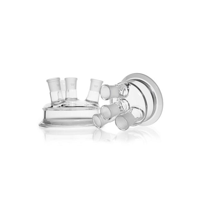 DWK Life SciencesDURAN™ Tapa con brida plana, 4 bocas con esmerilado normalizado, con bocas laterales (NS): 3 x 29/32 en ángulo, boca central: NS 29/32 DN 100 Ver productos