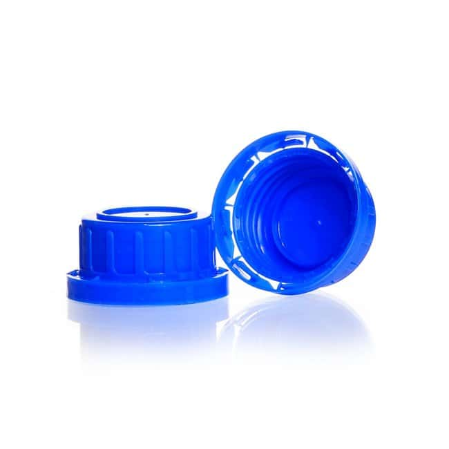 DWK Life Sciences Tamper Evident Screw Cap, Wide Mouth, Blue PP, for Soda-Lime Glass Screw-Top Square Bottles DIN 32 S thread Products