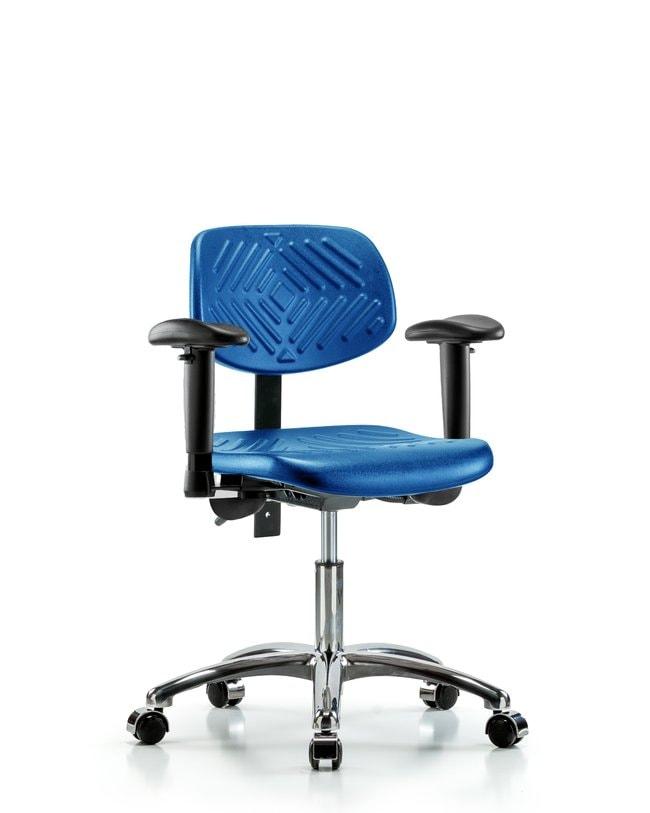 Fisherbrand Desk Height Blue Polyurethane Chrome Chair, Standard Back :Furniture,
