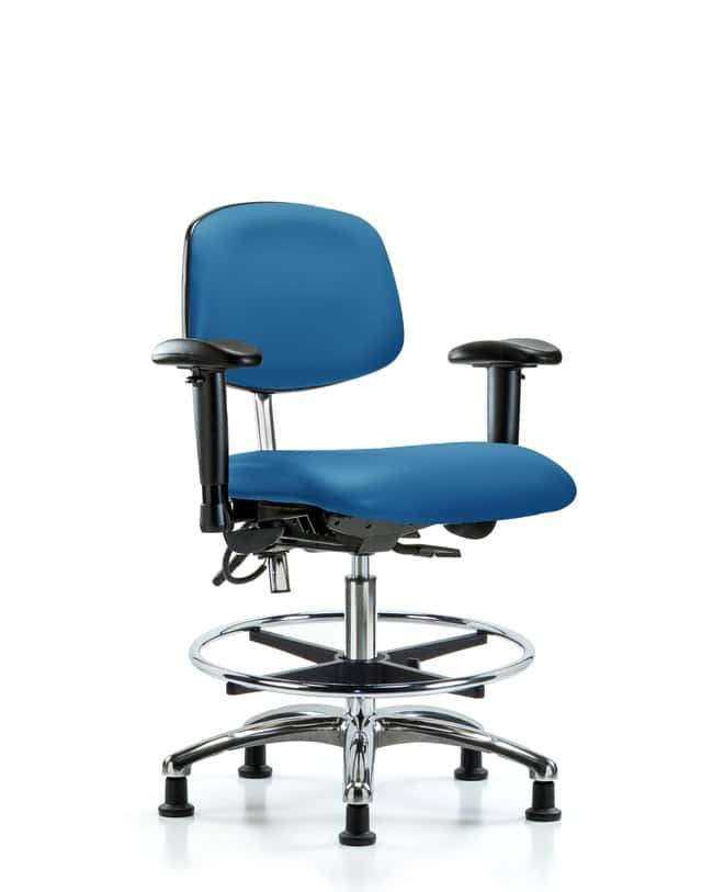 Fisherbrand Cleanroom/ESD Chair, Medium Bench Height, Chrome Frame, Vinyl  Upholstered Foam Seat - Gloves, Glasses and Safety, Controlled Environments