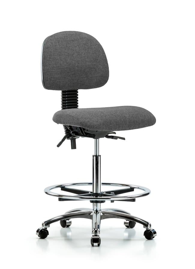 FisherbrandFabric Chair Chrome - High Bench Height with Seat Tilt, Chrome