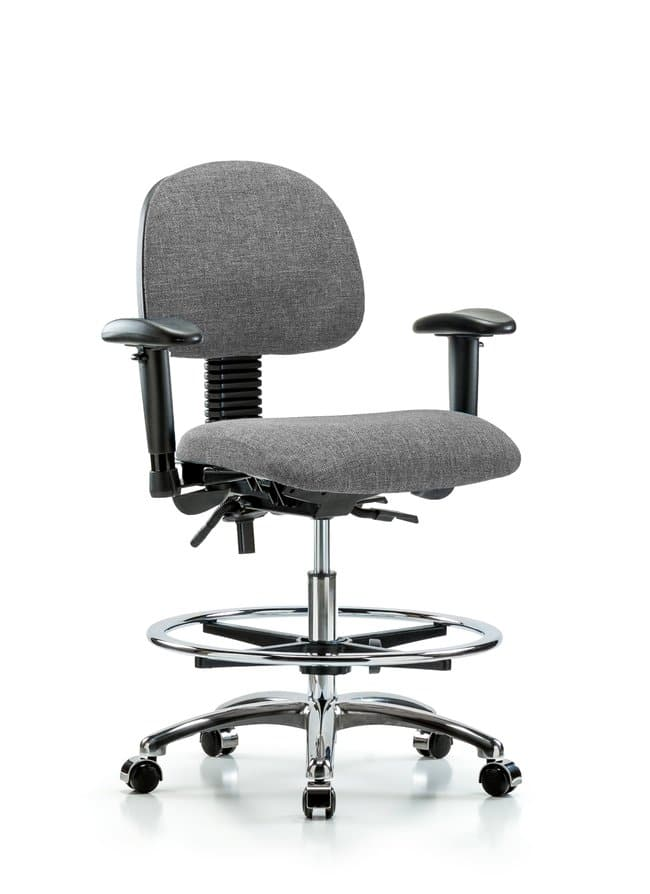 FisherbrandFabric Chair Chrome - Medium Bench Height with Seat Tilt, Adjustable