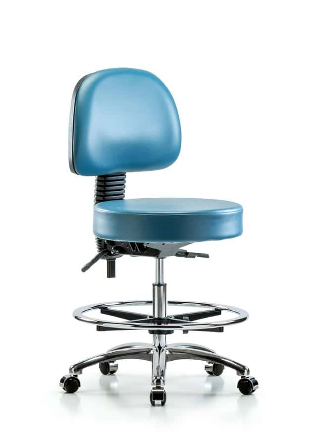 FisherbrandVinyl Stool with Back Chrome - Medium Bench Height with Seat