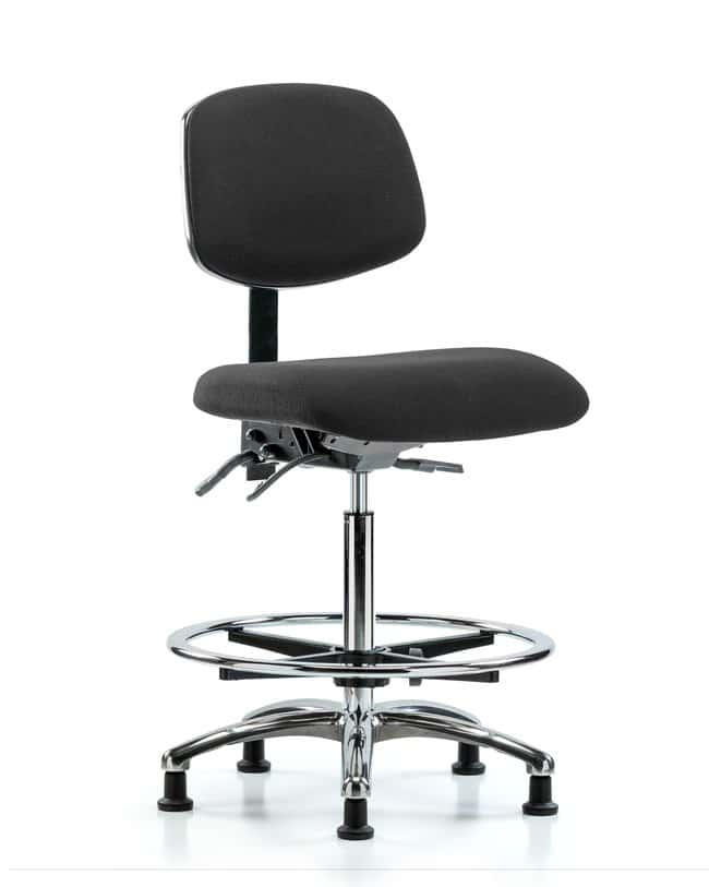 FisherbrandFabric ESD Chair - High Bench Height with Chrome Foot Ring and