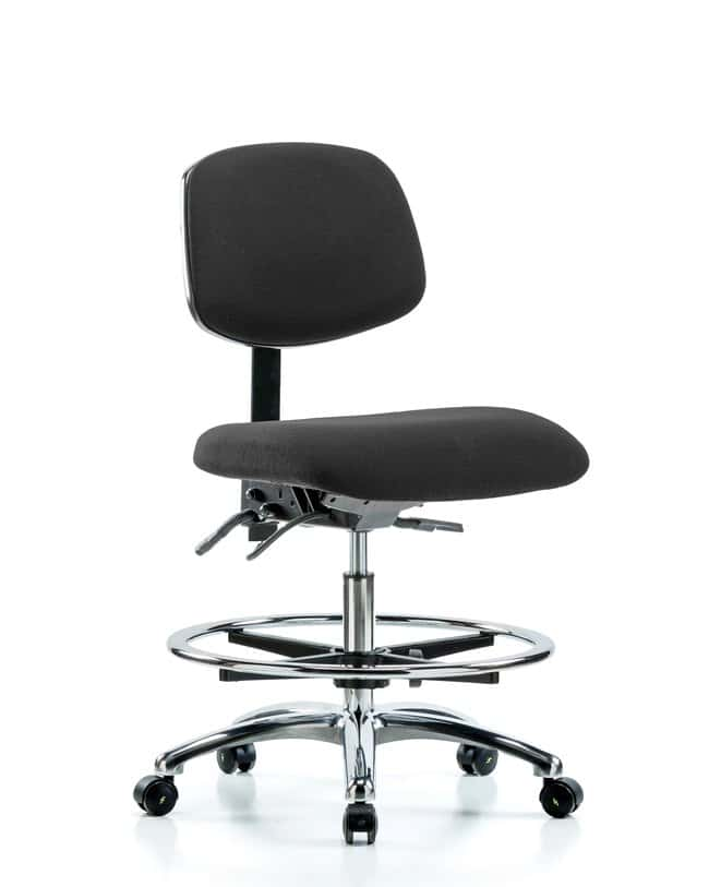 FisherbrandFabric ESD Chair - Medium Bench Height with Chrome Foot Ring