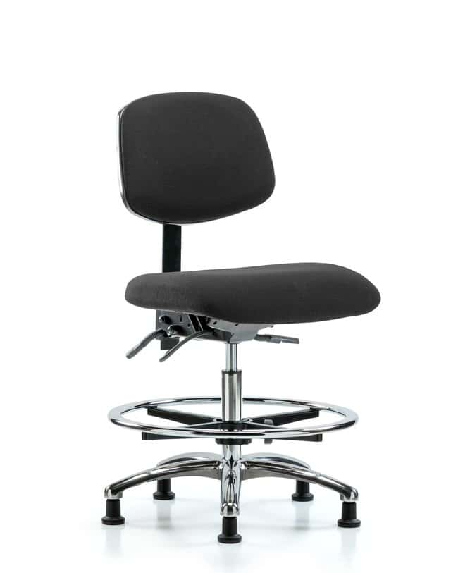 Fisherbrand Fabric ESD Chair - Medium Bench Height with Chrome Foot Ring
