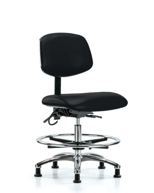 Fisherbrand Vinyl ESD Chair - Medium Bench Height with Chrome Foot Ring