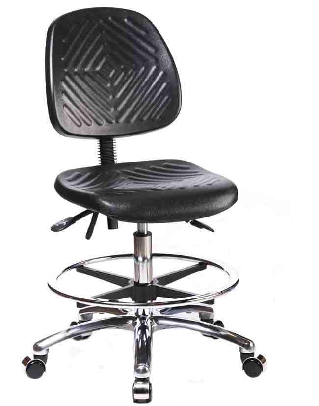 Fisherbrand Polyurethane Chair Chrome - High Bench Height with Medium Back,