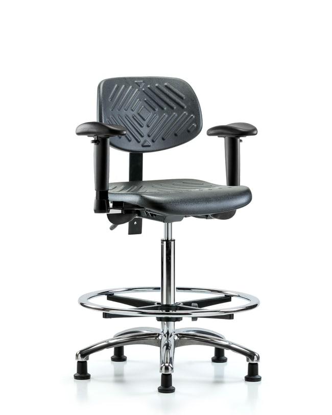 FisherbrandPolyurethane Chair Chrome - High Bench Height with Seat Tilt,
