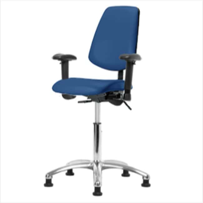 Fisherbrand Desk Height Blue Vinyl ESD Chair with Medium Back :Furniture,