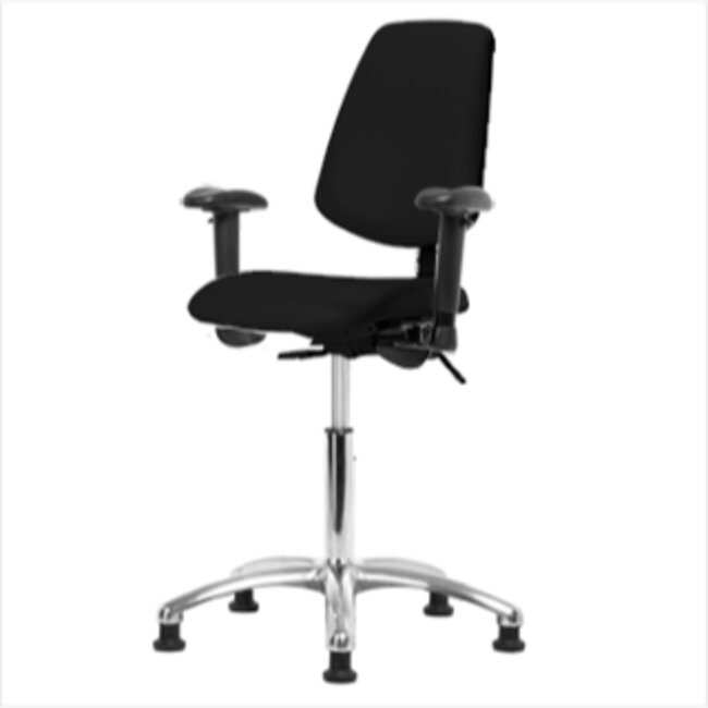 Fisherbrand Medium Bench Height Black Vinyl ESD Chair with Medium Back