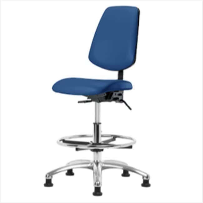 Fisherbrand Medium Bench Height Blue Vinyl ESD Chair with Medium Back and