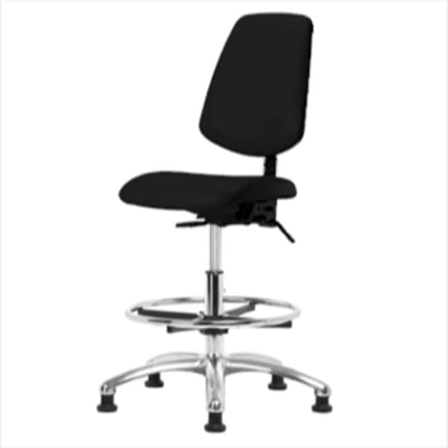 Fisherbrand Medium Bench Height Black Vinyl ESD Chair with Chrome Foot