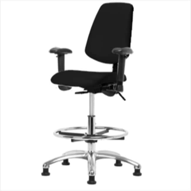 Fisherbrand High Bench Height Black Vinyl ESD Chair with Medium Back and
