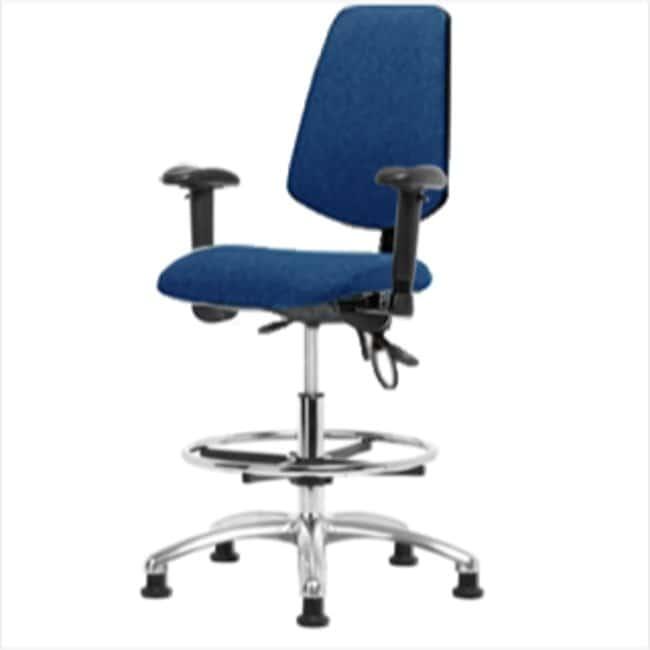Fisherbrand Medium Bench Height Blue Fabric ESD Chair with Medium Back
