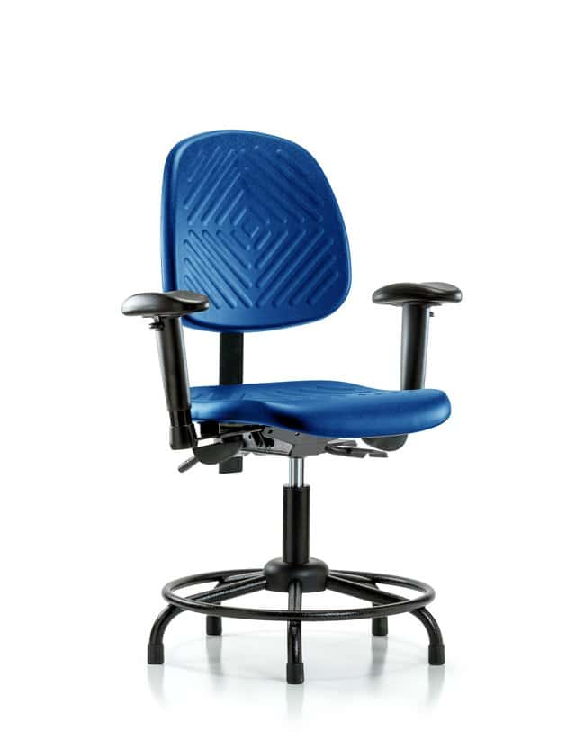 Fisherbrand Desk Height Blue Polyurethane Round-Tube Base Chair, Medium