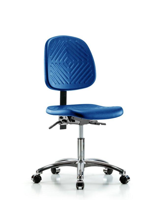 Fisherbrand Desk Height Blue Polyurethane Chrome Chair, Medium Back :Furniture,