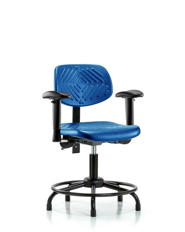 Fisherbrand Desk Height Blue Polyurethane Round-Tube Base Chair, Standard