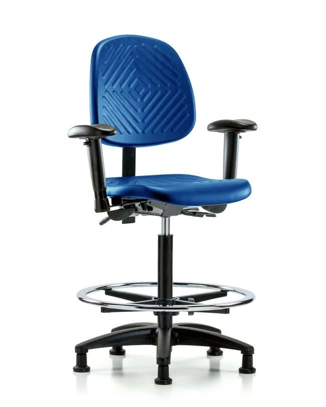 Fisherbrand High Bench Height Blue Polyurethane Chair with Medium Back