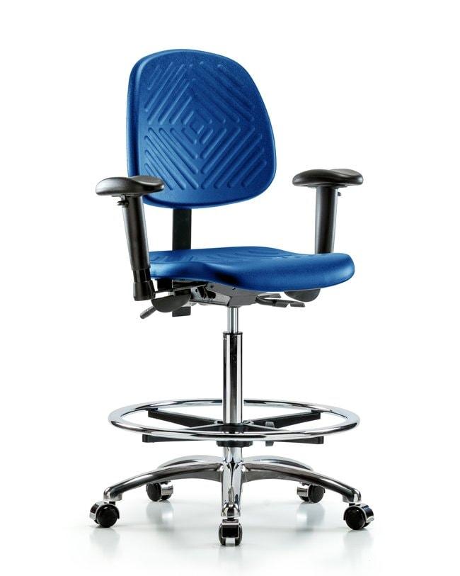 Fisherbrand High Bench Height Blue Polyurethane Chrome Chair with Medium