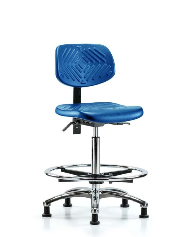 Fisherbrand High Bench Height Blue Polyurethane Chrome Chair :Furniture,