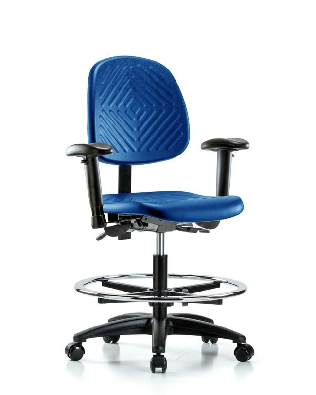 Fisherbrand Medium Bench Height Blue Polyurethane Chair, Medium Back :Furniture,