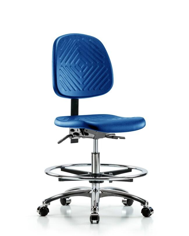 Fisherbrand Medium Bench Height Blue Polyurethane Chrome Chair, Medium