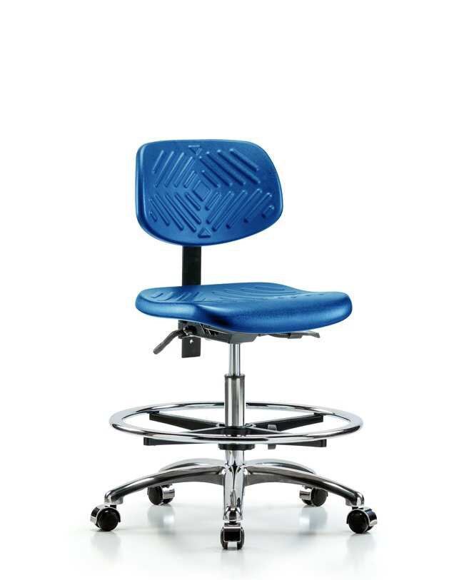Fisherbrand Medium Bench Height Blue Polyurethane Chrome Chair, Standard