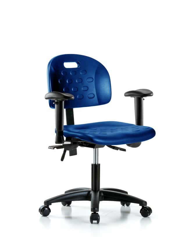 Fisherbrand Desk Height Industrial Blue Polyurethane Chair with Adjustable
