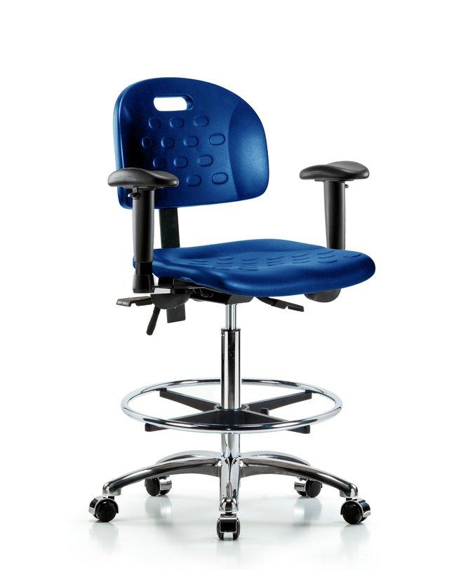 Fisherbrand High Bench Height Industrial Blue Polyurethane Chrome Chair