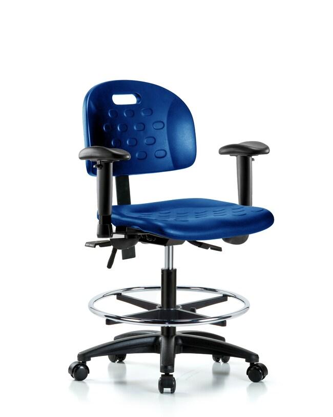 Fisherbrand Medium Bench Height Industrial Blue Polyurethane Chair :Furniture,