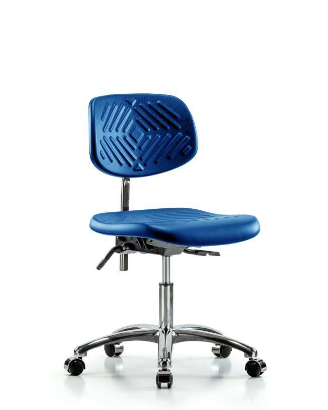 Fisherbrand Desk Height Class 10 Blue Polyurethane Clean Room Chair, Standard